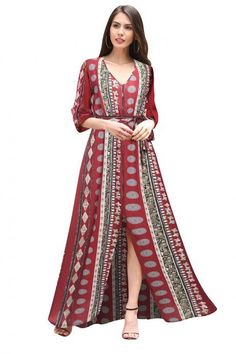 d1ba2e5e64 Fashion Half Sleeve Boho Print Dresses With V Neck Trendy Dresses