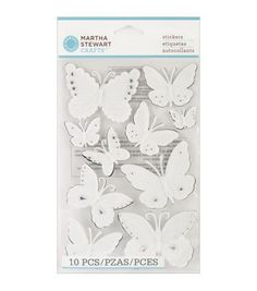 Martha Stewart Embossed Stickers with Gems- Butterflies