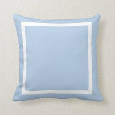 Light Blue Border Throw Pillow