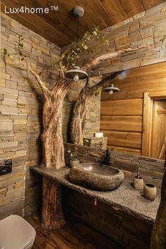 48 The best washbasin design you can find in your bathroom .- 48 Das beste Waschtischdesign, das Sie in Ihrem Badezimmer ausprobieren können 48 The best washbasin design you can try in your bathroom - Rustic Bathroom Designs, Rustic Bathrooms, Dream Bathrooms, Bathroom Interior Design, Log Cabin Bathrooms, Small Bathrooms, Cob House Interior, Outdoor Bathrooms, Rustic Bathroom Decor