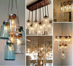 Mason Jar Lighting - Different ways to hang them. I love the large installation with only partial jars lit up! Ball Jar Lights, Ball Jars, Rustic Lighting, Home Lighting, Lighting Ideas, Mason Jar Lighting, Mason Jar Lamp, Home Projects, Home Crafts
