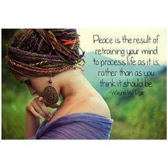 """Mais ou menos isso:"""" A paz é o resultado da requalificar sua mente para processar a vida como ela é, não como você acha que deve ser""""  (Blog Alma Andarilha)"""