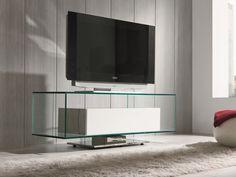 Meuble TV. Mod. COLUMBO Tv Moderna, Glass Furniture, Flat Screen, Fox, Ideas, Clear Glass, Home, Tv Unit Furniture, Tv Storage