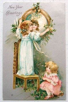 Adorable Girls on Colorful Vintage 1909 Winsch Back New Year Postcard Vintage Happy New Year, Happy New Year Cards, New Year Greetings, Vintage Ephemera, Vintage Cards, Vintage Postcards, Vintage Images, Vintage Christmas Cards, Christmas Images