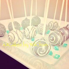 Silver cakepops for bridal shower