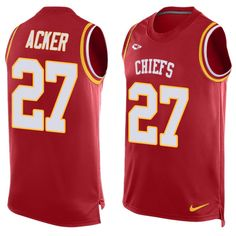 Men's Nike Kansas City Chiefs #27 Kenneth Acker Limited Red Player Name & Number Tank Top NFL Jersey