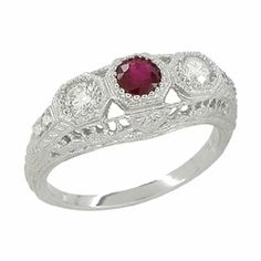 "Edwardian Filigree ""Three Stone"" Ruby and Diamond Ring in Platinum - $2,610 - http://www.antiquejewelrymall.com/r682pr.html"
