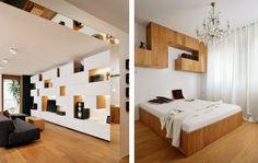Estanterías geométricas y muebles a medida de roble