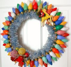 Recycle your old Christmas lights into a funky wreath!