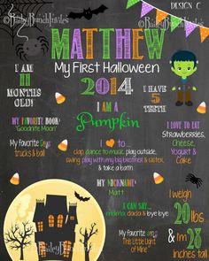 Baby's 1st Halloween Milestone Chalkboard Sign, 2nd Halloween, 3rd Halloween, Personalized - 1STHALLCHALKB0520