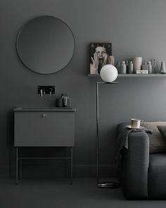 Bathroom Colors Gray, Room Wall Colors, Grey Bathrooms, Bathroom Black, Grey Furniture, Bathroom Furniture, Bathroom Interior, Furniture Ideas, Furniture Storage