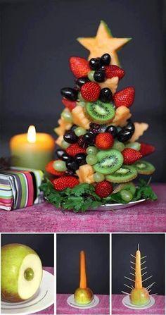 Gesundes Essen zu Weihnachten! Die schönsten weihnachtlichen Obstkreationen! #4 sieht sehr lecker aus! - DIY Bastelideen