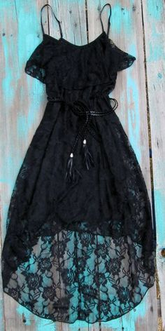 Black lace country chic dress.