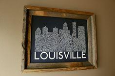 Louisville Skyline Word Art Print by fortheloveofmaps on Etsy, $22.00