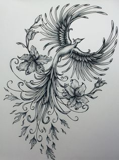Grey Ink Girly Phoenix With Flowers Tattoo Design
