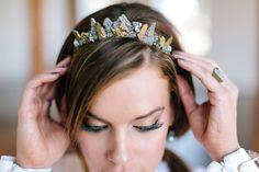 Juno Crown Quartz Pyrite & Druzy Headpiece Crown by WildAirCo Wedding Trends, Wedding Styles, Wedding Ideas, Modern Wedding Inspiration, New Orleans Wedding, Bridal Updo, Wedding Looks, Dream Wedding, Ombre Color
