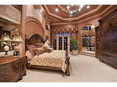 Grand formal traditional Master Bedroom - Bay Colony Golf Estates - Naples, Florida with separate, elevated seating area. Dream Bedroom, Home Decor Bedroom, Design Bedroom, World Decor, Mediterranean Home Decor, Tuscan Decorating, Luxurious Bedrooms, Luxury Bedrooms, Beautiful Bedrooms