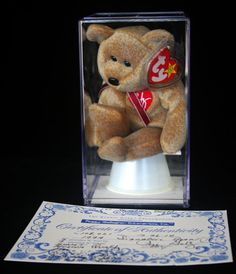 Authenticated Ty Beanie Baby 1999 1st Signature Teddy Bear MWMT MQ Retired   Ty 59e978ecd2d7