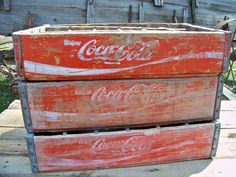 3 Old Vintage Wooden Coca-Cola Shipping Crates
