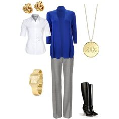 Work outfit White blouse Grey trouser Grey pumps Navy sweater  Gold accessories