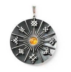 "BalticShop.com  Amber Sun with Latvian Ornaments Pendant Sterling silver  diameter 1-3/4"" Riga, Latvia $180"