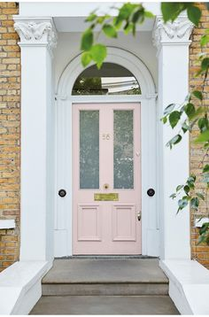 Little Greene - Dorchester Pink - Mid Door Little Greene Paint Company, The Doors, Entry Doors, Entrance, Entryway, Rideau Rose Pale, Pouf Rose, Garage Door Styles, Garage Doors