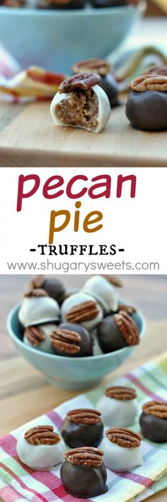 Pie Truffles: delicious bites of pecan pie in a chocolate truffle coating!:Pecan Pie Truffles: delicious bites of pecan pie in a chocolate truffle coating! Candy Recipes, Sweet Recipes, Cookie Recipes, Dessert Recipes, Baking Recipes, Fudge, Holiday Baking, Christmas Baking, Christmas 2015