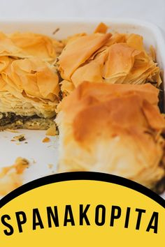 Easy, classic spanakopita recipe! Delicious Greek spinach pie with golden, crispy phyllo crust. Spanakopita is such a popular dish in traditional Greek cuisine that it can be found in countless variations. It is very common on family dinner tables. You can find it in bakeries, local taverns and inns, and also on the menus of high-end restaurants. Spanakopita Recipe, Chopped Cheese, Greek Spinach Pie, World Recipes, Bakeries, Bon Appetit, Meal Planning, Restaurants, Good Food