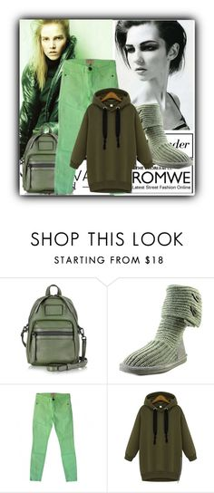 """""""Green Sweatshirt by ROMWE"""" by albinnaflower ❤ liked on Polyvore featuring Marc by Marc Jacobs, Bearpaw and Current/Elliott"""