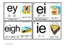 Orton-Spalding Phonograms - Illustrated Flash Cards - 'ey', 'ei', 'eigh', 'ie' Phonics Chart, Phonics Blends, Phonics Rules, Phonics Words, Reading Club, Kids Reading, Spalding Phonograms, Phonics For Kids, English Phonics
