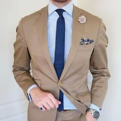 johannchristianbuddecke: Todays Attire Slim Tie from Khaki Suits, Brown Suits, Blazer Outfits Men, Stylish Mens Outfits, Gents Fashion, Mens Fashion Suits, Suit Combinations, Designer Suits For Men, Tuxedo For Men