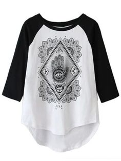 Shop White Palm Print Color Block Sleeve T-shirt from choies.com .Free shipping Worldwide.$13.9
