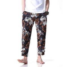 Men's Casual Cotton Linen Pants Basic Floral Printing Drawstring Mid Waist Cropped Summer Beach Trousers *** You can find more details by visiting the image link. (This is an affiliate link) Harem Pants, Pajama Pants, Cropped Trousers, Linen Pants, Cotton Linen, Summer Beach, Elastic Waist, Floral Prints, Men Casual