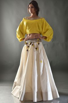Buy Yellow & Beige Sequins Embroidered Cotton Crop Top Lehenga Online - waff life photos and shared Choli Designs, Lehenga Designs, Blouse Designs, Crop Top Designs, Dress Indian Style, Indian Dresses, Indian Wear, Indian Outfits, Indian Lehenga