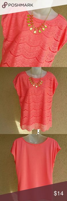 """Faded Glory Blouse Lovely coral top with a lace front and Polyester Rayon back. Scalloped hem. Armpit to armpit 21 1/2"""". Shoulder to hem 25"""". Slight drop sleeves. Faded Glory  Tops Blouses"""