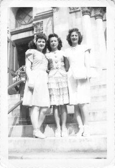 Photograph Snapshot Vintage Black and White 3 Women Dress Smile Hug 1950'S | eBay