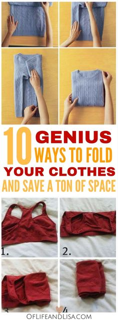 Here's a post on how to fold your clothes that will save you so much space! Falten 10 Genius Ways to Fold Your Clothes and Save a Ton of Space Wardrobe Organisation, Diy Organization, Clothing Organization, Crafts For Teens To Make, Diy And Crafts, Kids Diy, Decor Crafts, Organizar Closets, Outfits For Teens