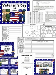 Veteran's Day Grades 3-5 (30 pages!) Worksheets & Activities $