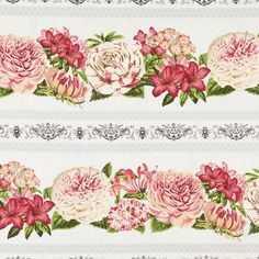 Rows of pink flowers on repeating gray stripes. You don't have to speak French to love Le Bouquet! This sweet and charming collection features delicate flowers, butterflies, and foliage on pale shades Bouquet, Wilmington Prints, Missouri Star Quilt, Star Quilts, Rowan, S Star, Grey Stripes, Pink Flowers, Delicate