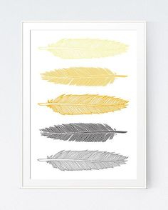 Grey Gray Yellow Feather Print Mustard and Gray Feather Art