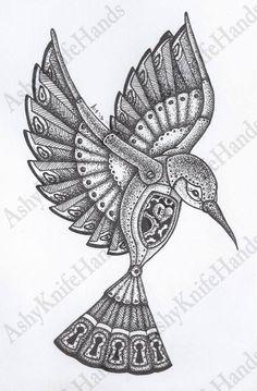 Original Mechanical Bird Illustration by Ashyknifehands Tiny Bird Tattoos, Black Bird Tattoo, Hummingbird Drawing, Hummingbird Tattoo, Vogel Illustration, Steampunk Bird, Mechanical Art, Bird Embroidery, Bird Artwork