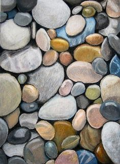 """Oil Pastel Stones""  this is a great lesson for discussions about observational drawing, color mixing, and texture."