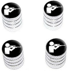 """Amazon.com : (4 Count) Cool and Custom """"Diamond Etching Shooting Hunter Top with Easy Grip Texture"""" Tire Wheel Rim Air Valve Stem Dust Cap Seal Made of Genuine Anodized Aluminum Metal {Timeless Dodge Silver and Black Colors - Hard Metal Internal Threads for Easy Application - Rust Proof - Fits For Most Cars, Trucks, SUV, RV, ATV, UTV, Motorcycle, Bicycles} : Sports & Outdoors"""