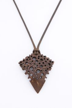 "Eco art women pendant ""Woodworm"" from coconut shell hand carved wood carving brown pendant modern gift for her abstract natural - $32.00 USD"