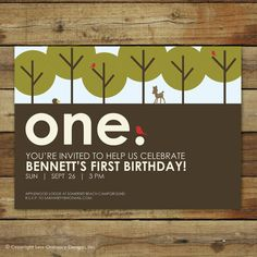 """forest first birthday party invitation - woodland forest themed - """"Mod Forest"""". $15.00, via Etsy."""
