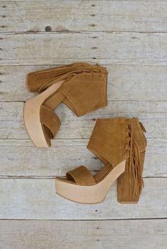 Modern Fringe Suede + Wood Platform Heels   7.5