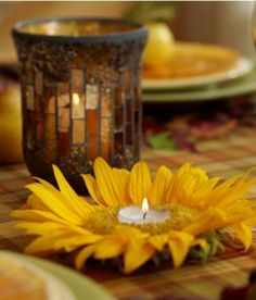 Learn how to make your own gorgeous fall sunflower votive candles from 1800Flowers floral lifestyle expert Julie Mulligan!