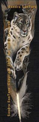 Mountain King---Snow Leopard painted feather print