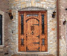 Dungeon Door - bought only at www.nicksbuilding.com #craftsmanexteriordoors #castledoors #mansiondoors Exterior Doors With Sidelights, Exterior Doors For Sale, Modern Exterior Doors, Exterior Doors With Glass, Wood Exterior Door, Interior Barn Doors, Entry Doors, Front Doors, Front Entry