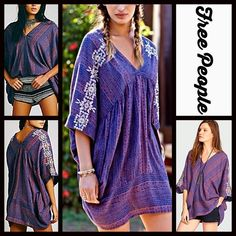 """FREE PEOPLE Boho Slouchy Tunic Tribal Printed Top RETAIL PRICE: $168  NEW WITH TAGS  ***Model photos from WWW.Lyst.com FREE PEOPLE Boho Slouchy Tunic Tribal Printed Kaftan Top * Oversized silhouette * Incredibly soft & lightweight fabric  * V-Neck front & 3/4 long sleeves w/embroidered details * About 31"""" long w/subtle Hi-Lo hemline  Fabric: Cotton & Viscose blend.  Color: Indigo Combo   No Trades ✅Offers Considered*/Bundle Discounts✅ *Please use the blue 'offer' button to submit an offer…"""